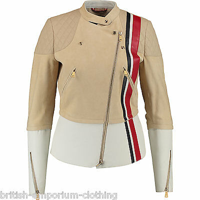 TOMMY HILFIGER RUNWAY COLLECTION Suede Leather Biker Jacket UK6 IT38 EU34 US4