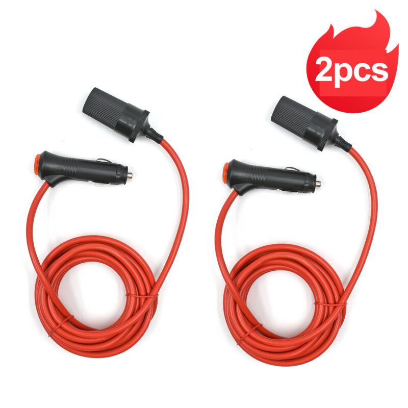 2pcs 12 Foot Heavy Duty Extension Cord with Cigarette Lighter 12V Plug Socket