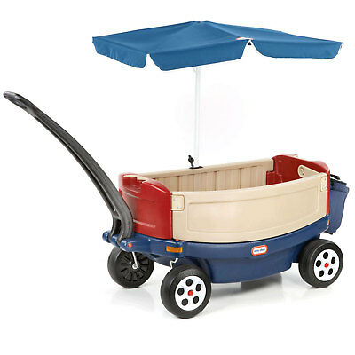 Little Tikes Kids Deluxe Ride and Relax Toy Pull Wagon with Umbrella and Cooler ()