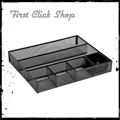 Desk Drawer Organizer Metal Mesh Black Color Stylish Sturdy Metal Four Deep Bins