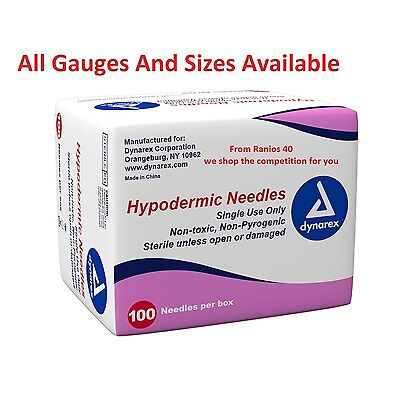 Dynarex Hypodermic Sterile Needles Different Gauge Size From 5 To 100 Needles