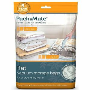 2 x Packmate Flat Vacuum Storage Bags Extra Large Clothing Travel Pack, 70x105cm