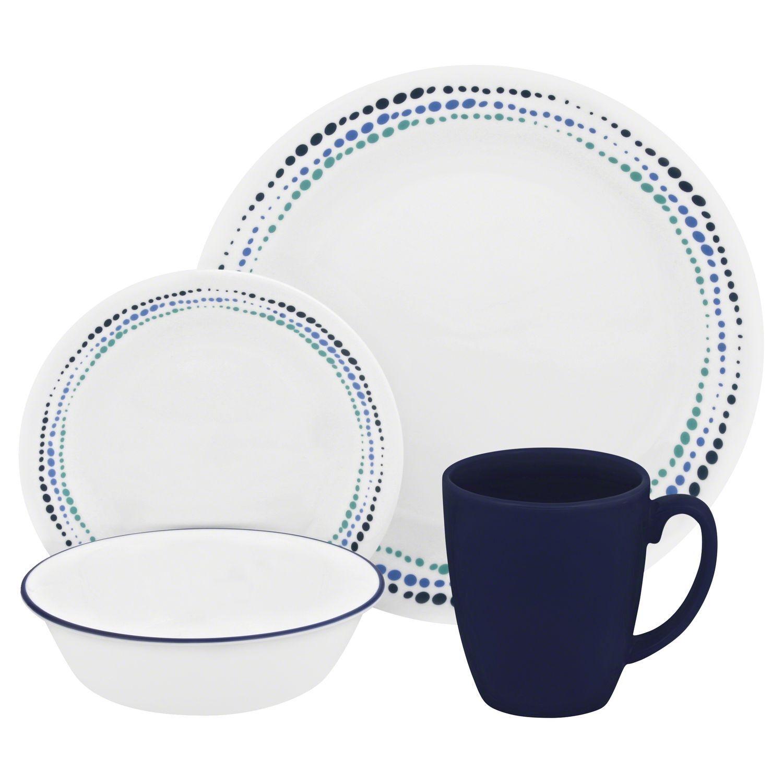 CORELLE Dinnerware 16 Piece Set ~ Service for 4 OCEAN BLUES