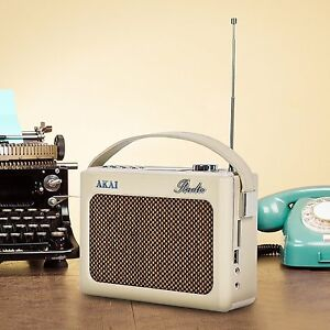 Akai Retro Radio DAB Faux Leather  - Cream A60016C