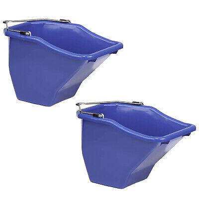 Little Giant 20qt Durable Plastic Flat Back Livestock Feed Bucket Blue 2 Pack