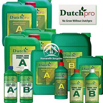 Dutch Pro Original Grow Bloom A+B Coco Hydro & Soil Plant Nutrients Hydroponics