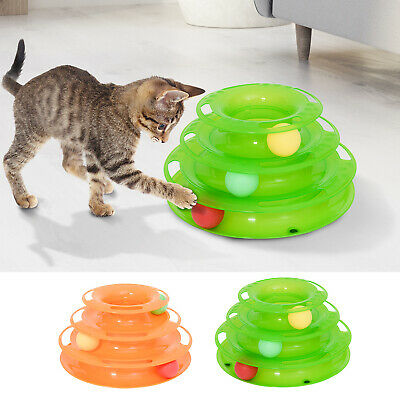 Katzen Spielturm Kreisel mit Bällen Spielzeug Kugelbahn 3 Etagen 2 Farben