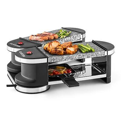 Parrilla Eléctrica Piedra Mini Raclette Grill 600W 4 Sartenes Barbacoa Aluminio