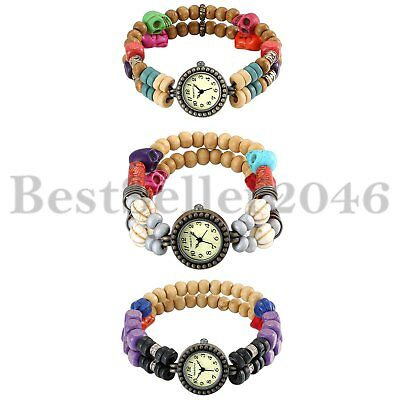 Handmade Tribal Strand Wooden Beads Bracelet Quartz Wrist Watch for Women Girls ()