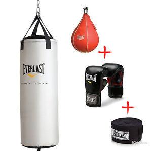 70 Lbs Heavy Bag Kit Hand Wraps Boxing Gloves Mma Punching Training Equipment