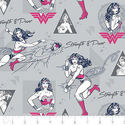 Wonder Woman Strength & Power Light Grey Camelot 100% cotton fabric by the yard