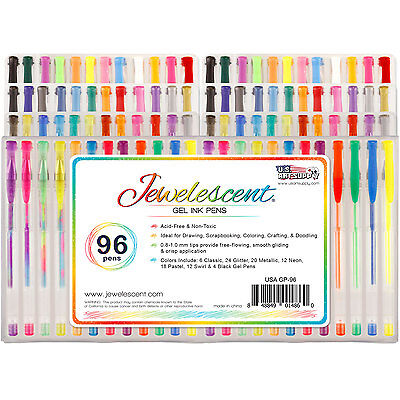 US Art Supply Jewelescent 96pc Gel Pen Set Glitter, Metallic, Neon (48 Colors)