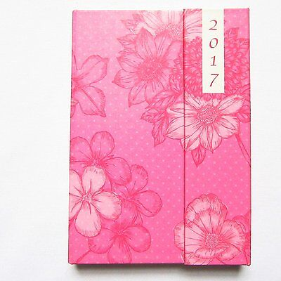 A6 Pink Hardback Floral Week to View (On 2 Pages) Diary Organiser 2017 - 2092