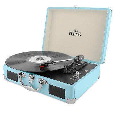 Revinyl Briefcase Record Player Suitcase Vinyl Turntable Bluetooth 3W Speakers
