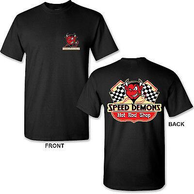 Speed Demon Hot Rod on Black T-Shirt Classic Garage Mechanic Racing Engine (Speed Demon Racing)