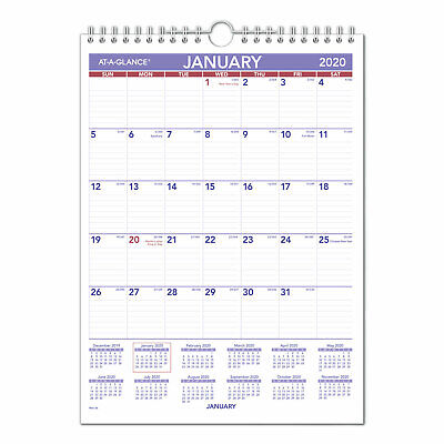 At-a-glance Monthly Wall Calendar With Ruled Daily Blocks 8 X 11 White 2020