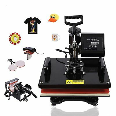 5 In 1 Heat Press Machine Transfer Sublimation Cap T-shirt Hat Printing 15x15