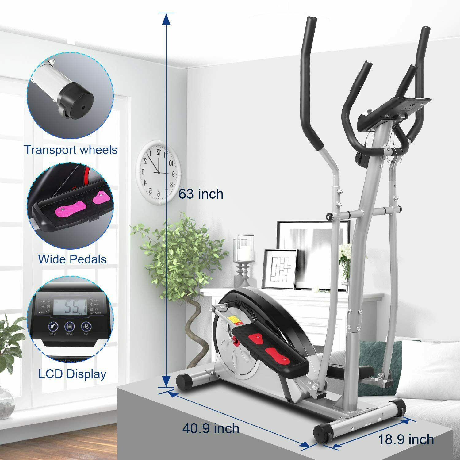 ANCHEER Magnetic Elliptical Machine Exercise Training Home G