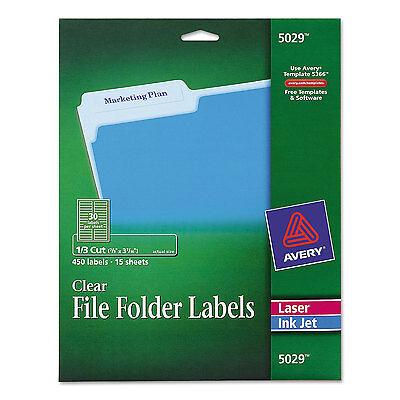 Avery Clear File Folder Labels 13 Cut 23 X 3 716 450pack 5029