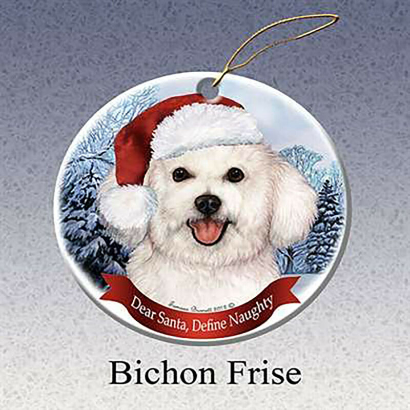 Bichon Frise Dog Santa Hat Christmas Ornament Porcelain China USA-made