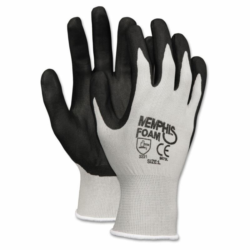 Memphis Economy Foam Nitrile Gloves Small Gray/Black 12 Pairs 9673S