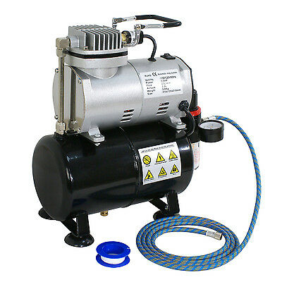Airbrush Air Compressor Includes Pressure Regulator With Gauge,1/5 HP 6 FT Hose