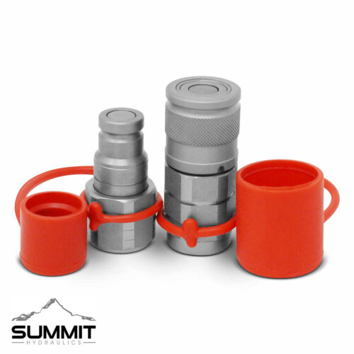 """3/8"""" Flat Face Hydraulic Quick Connect Coupler / Coupling Set, 1/2"""" NPT Thread"""