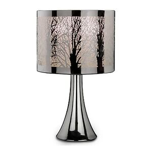 New silver chrome tree scene dimmer touch light table desk for Bedroom touch table lamps