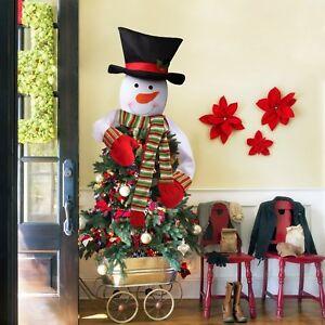 snowman christmas tree top topper cover santa deer hat xmas tree ornaments decor