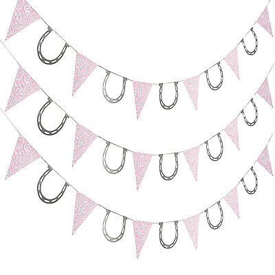 Pink Cowgirl Party Supplies (7ft. COWGIRL Pennant pink bandana HORSE SHOE Western BIRTHDAY Party)