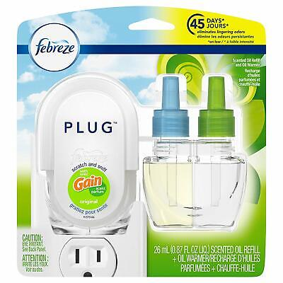 Febreze Plug In Air Freshener with Warmer & Scented Oil Refill, Gain -