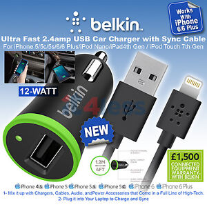 belkin ultra fast usb car charger with sync cable for iphone 6 6 plus 5 s ebay. Black Bedroom Furniture Sets. Home Design Ideas