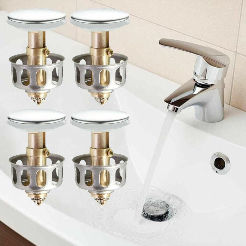 4 PCS Universal Wash Basin Core Bounce Drain Filter Pop Up Bathroom Sink Plug US