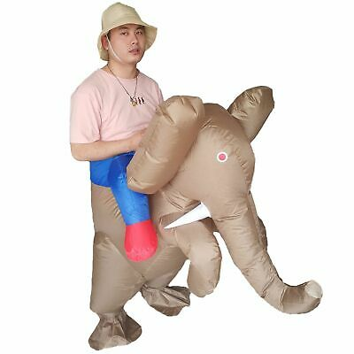 Elephant Rider Costume (Inflatable Elephant Costume Animal Rider Mascot Halloween Adults Party)