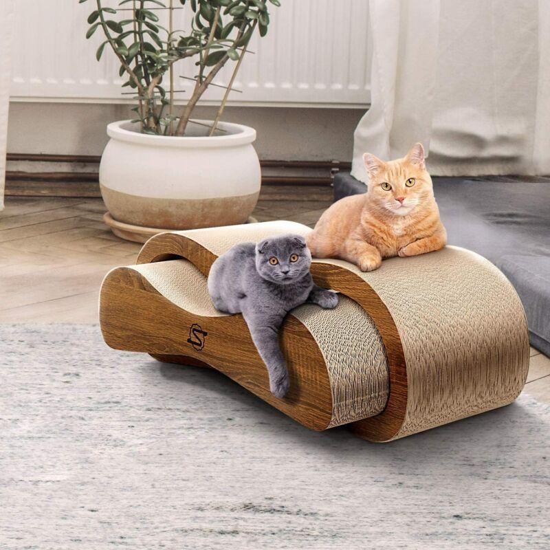 ScratchMe Cat Scratching Post Lounge Relaxing Bed Cat Scratcher Cardboard Catnip