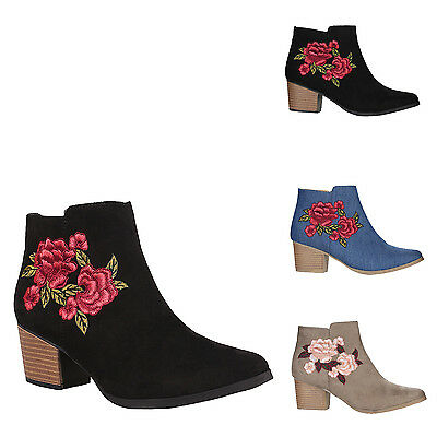 New Womens Embroidery Floral Stacked Heel Ankle Bootie Nero 08