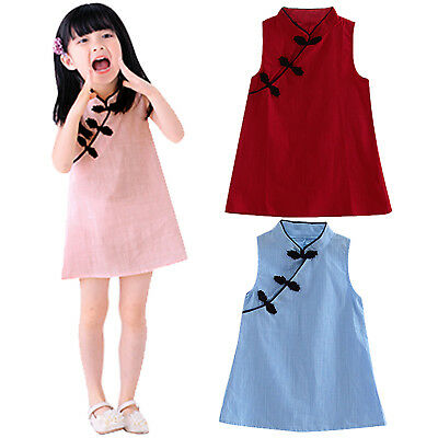 Kids Baby Girls Chinese Cheongsam Dress Vintage Sleeveless Party Princess Dress