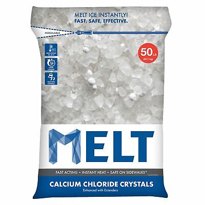 MELT 50 Lb. Resealable Bag Calcium Chloride Crystals Ice Melter - (Ice Melt 50 Lb Bag)