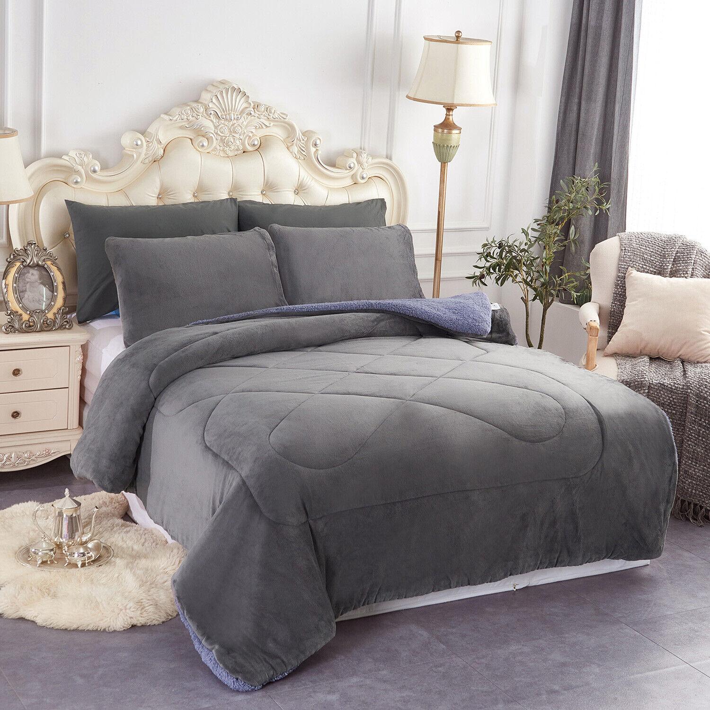 3 Pieces Warm Winter Micromink Sherpa Queen / King Comforter