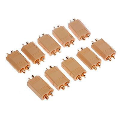 20er (10 Paar) Nylon XT60 Hochstrom Stecker Buchse Akku Connector Goldstecker