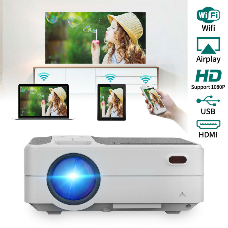 Wifi 1080P LCD Home Office Projector Airplay Miracast Movie Video HDMI USB VGA