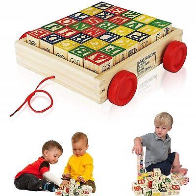 EDUCATIONAL TOYS Kids Wooden Alphabet Blocks 2 Years Old Children Boys Xmas - Old Wooden Toys