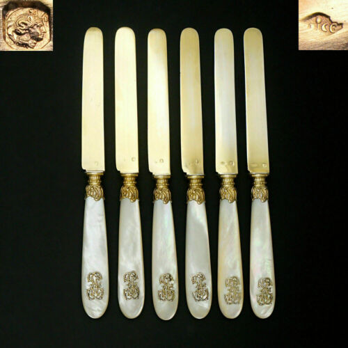 6pc Antique French Sterling Silver Gold Vermeil Knives Knife Set Mother of Pearl