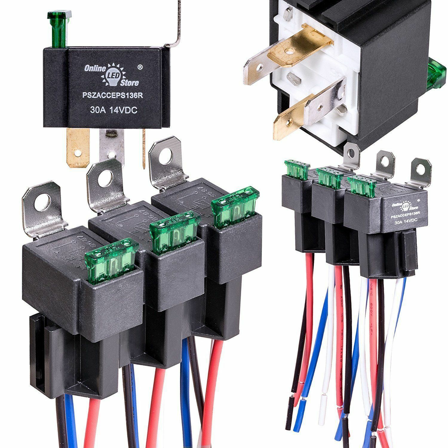 Ols 12v 30 Amp Fuse Electrical Relay Harness Ebay A Single Phase Square D Box Wiring Stock Photo