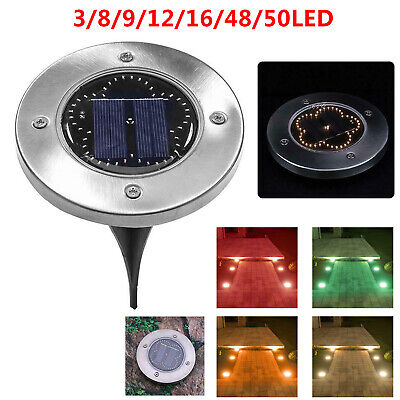 1X LED Solar Disk Lights Ground Buried Garden Lawn Deck Path Outdoor Landscape Earth Garden Path
