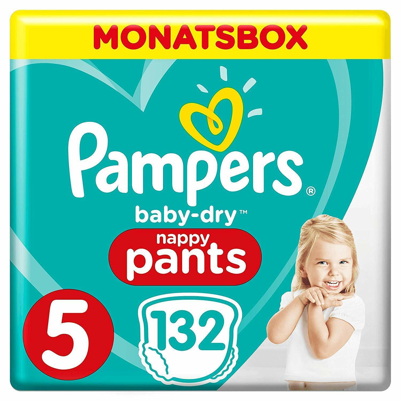 Pampers Baby-Dry Pants, Gr. 5, 12-17 kg, Monatsbox, 1er Pack (1 x 132 Stück)