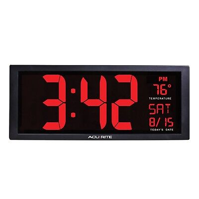 AcuRite 75127 Oversized LED Clock with Indoor Temperature Date and Fold-Out S...