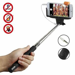 selfie stick telescopic phone camera holder cable shutter for iphone 6 5 sams. Black Bedroom Furniture Sets. Home Design Ideas