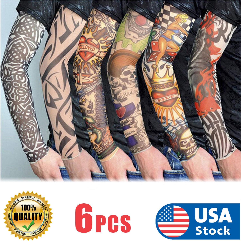 6 Pcs Unisex Mens Women Nylon Temporary Fake Full Arm Tattoo Sleeves Stockings Health & Beauty