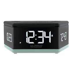 617-106B La Crosse Technology 3 Sided LED Digital Dual Alarm Clock - Blue Bottom